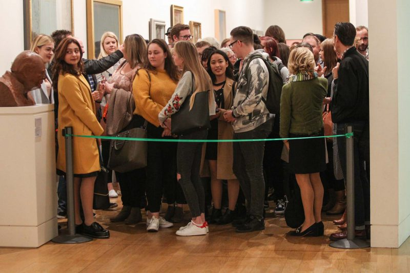 Students waiting to see the exhibition