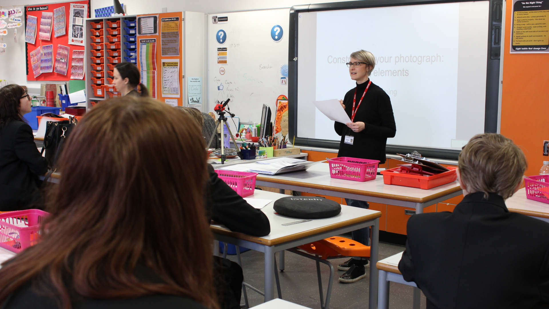 Katherine teaching with students at Farnborough Academy, 2019