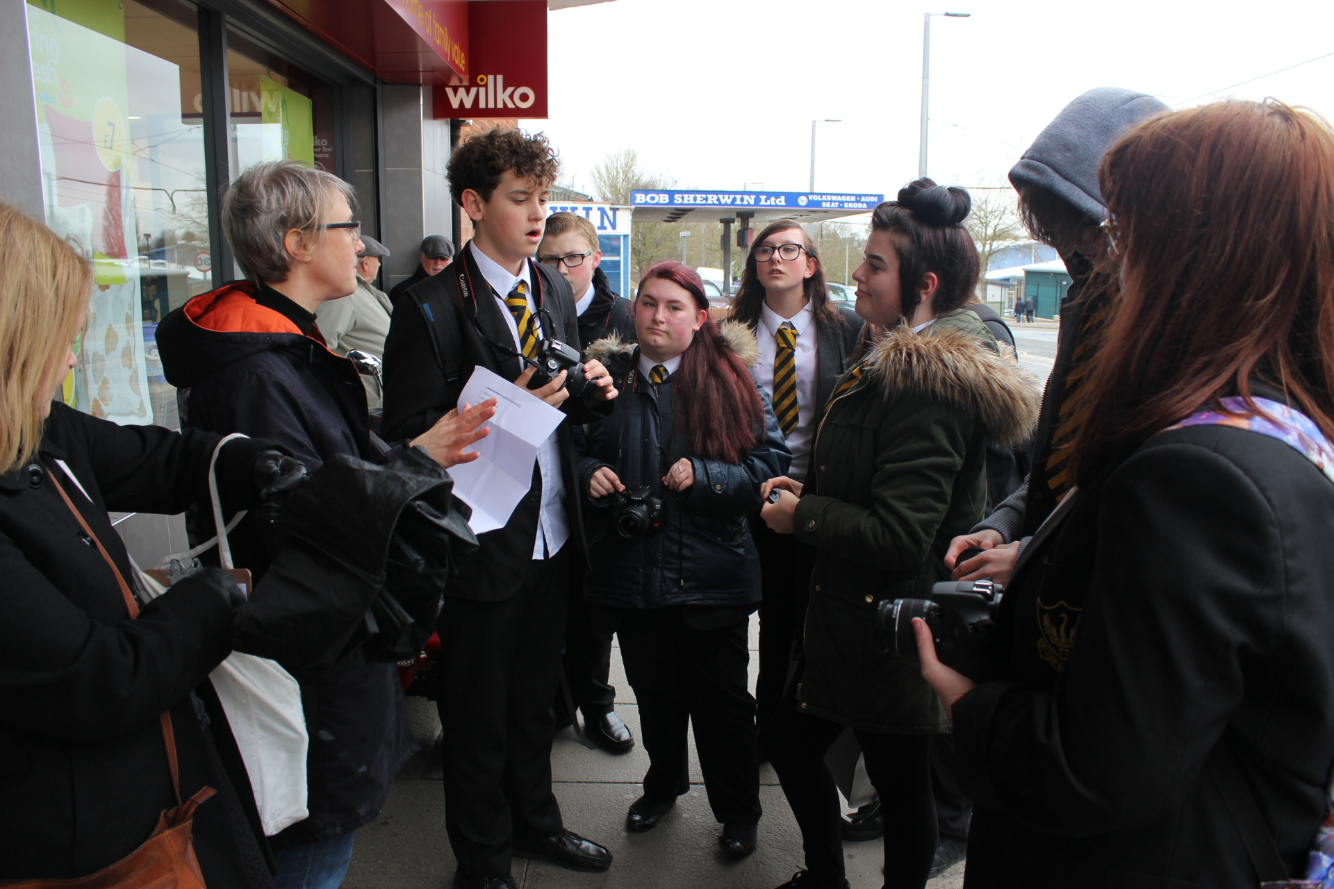 Katherine with group of students in Clifton, 2019