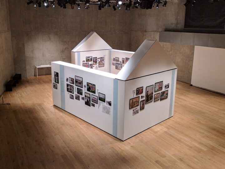 Showing installation of exhibition at Nottingham Contemporary