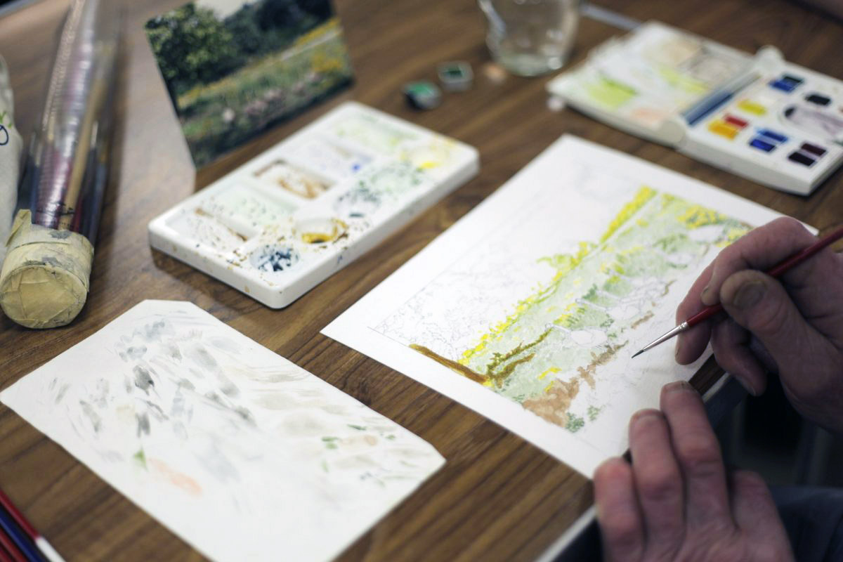 Image of person doing a watercolour image
